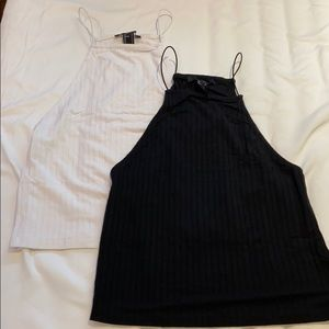 F21 - Black & White Ribbed Crop Cami Top